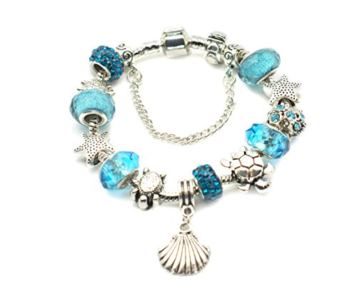 European Ocean Beach Charm Beaded Bracelet 8.5 Inch for Women and Teen Girls Seashell Turtle Starfish Aquamarine Murano Glass Beads Prime Quality Gift 925 Silver Plated (Beach Theme Charm)