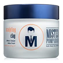Mister Pompadour Sculpting Clay - Best Hair Product for Men (and Women) - 2oz - Medium Hold & Matte Finish - All Natural Ingredients - Best Hair Clay & Pomade - Perfect for Hair Types that require Volume and Texture - Quiffs, Pompadours, Side Parts & Undercuts