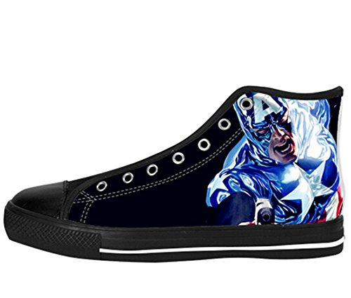 Mens Canvas Hoge Schoenen Kapitein America Print Kapitein Shoes10