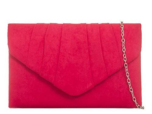 Designer Velvet Autumn Ladies à Soirée Rouge UKFS main sac embrayage Envelope q1ZrFqxtw