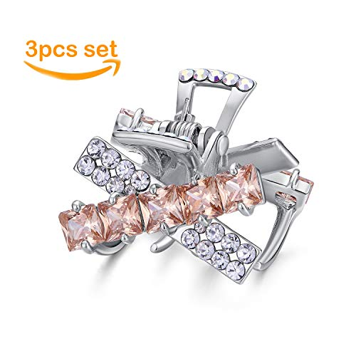Moon Model One Fashion Rhinestone Hair Claw Crab Set of 3 Claw Hair Clip Mini Hair Clips for Women Reliable Easy Styling For Updos(Cross Clear/Pink)