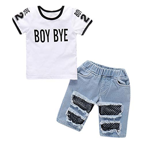 Kids Baby Denim Outfit Set Boy Bye Print Short Sleeve T-Shirt Tops + Ripped Jeans Shorts Hole Mesh Pant