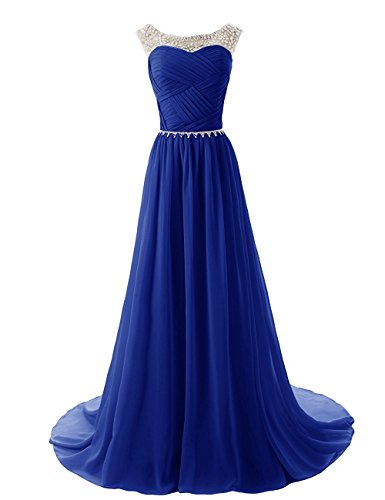 Icy Sun Women's Scoop A Line Prom Dresses Chiffon Sweep Train Bridesmaid Gowns (A-line Scoop Sweep)