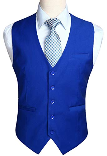 HISDERN Men's Suit Vest Business Formal Dress Waistcoat Vest with 3 Pockets for Suit or Tuxedo Royal -