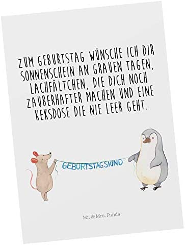 Mr. & Mrs. Panda Karte, Grußkarte, Postkarte Maus Pinguin Geburtstag mit Spruch - Farbe Weiß