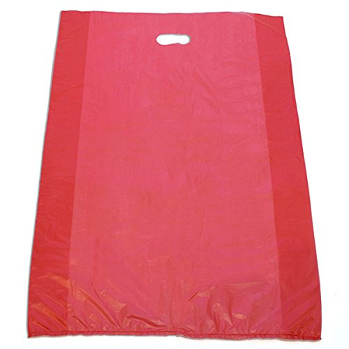 Houseables Plastic Merchandise Bags High Density Grocery With Die Cut Handle 20x4x30 Shop Red Pack of 500 NEW by Bentley's Display