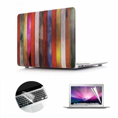 Se7enline Macbook Pro Case Bundle Wood Grain Matte Plastic H