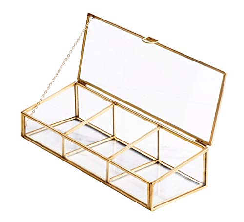 Golden Vintage Glass Lidded Box Clear Glass & Brass Metal Storage Jewelry and Cosmetic Makeup Organizer with Lid Beauty Display, Rectangle with 3 Compartment