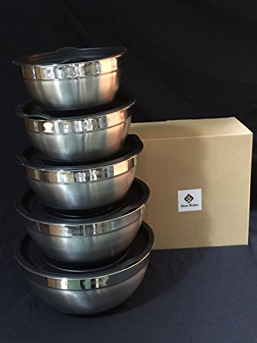Titan Kitchen Set of 5 Stainless Steel Mixing Bowls with Non-Slip Silicon Bottom and Lid