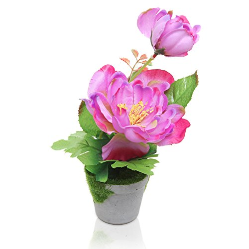 Potted Artificial Purple Silk Peony Flower Plant / Indoor Faux Floral Centerpiece w/ Round Pot - MyGift (Pots For Centerpieces)