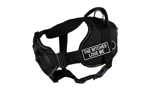 Dean & Tyler 22 to 27-Inch ''The Bitches Love Me'' Fun Harness with Padded Chest Piece, Small, Black with Yellow Trim by Dean & Tyler