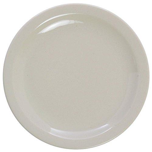 - HUBERT Salad Plate Narrow-Rim Warm White Stoneware - 7 1/4