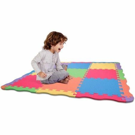 Edu Tiles,Giant Interlocking Solid Brightly Colored Play Mat, 25 Pieces by - Edushape Edu Tiles