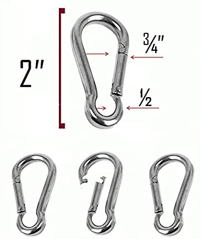 Set of 4 - 2 Inch Stainless Steel 304 Spring, Snap, Link, Hook, Clip Carabiner-Keychain, Keyring/Camping/Fishing/Traveling/Hiking/dog leash...etc.. Set of 4 (Not used for (Stainless Steel Snap Ring)