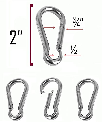 Set of 4 - 2 Inch Stainless Steel 304 Spring, Snap, Link, Hook, Clip Carabiner-Keychain, Keyring/Camping/Fishing/Traveling/Hiking/dog leash...etc.. Set of 4 (Not used for climbing)