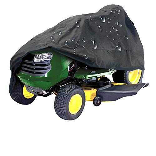 - IC ICLOVER Lawn Mower Cover, Waterproof 210D Polyester Oxford UV Weather Protection Tractor Cover Windproof Heavy Duty Durable Universal (Riding Lawn Mower Cover)