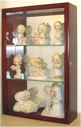 Mirrored Back Display Cabinet - Wall Curio Cabinet/Precious Moments Figurines Display Case, Glass Door, Mirrored Back, CD01B-CH