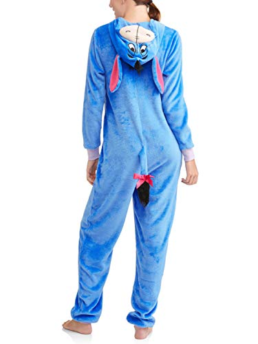 Disney Womens Faux Fur Licensed Sleepwear Adult Costume Union Suit Pajama , Large , Eeyore 3