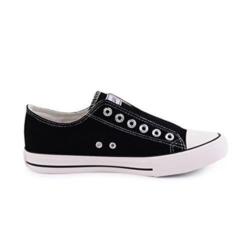 Best-botas para mujer zapatilla zapatillas zapatos de cordones estilo deportivo Nero (Black without)