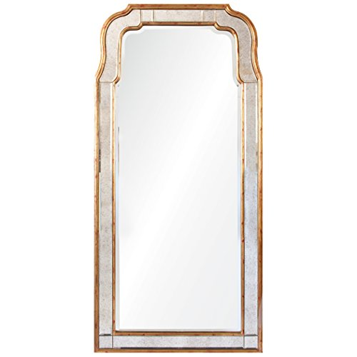 (Kathy Kuo Home Holiday Hollywood Regency Antique Gold Leaf Frame Arch Mirror)