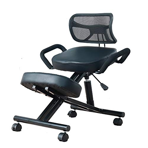 Mobile Kneeling Posture Chair Ergonomic Kneeling Chair Office with Orthopedic Back Pain Seat Adjustable Stool Thick Comfortable Cushions PU Black by M-GYG