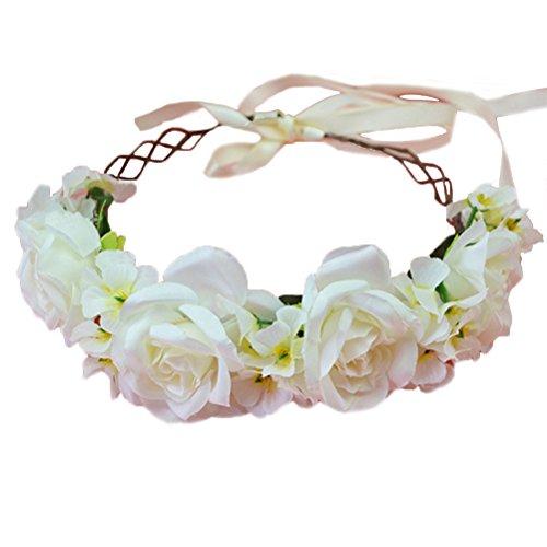 Vivivalue Rose Flower Crown Boho Flower Headband Hair Wreath Floral Headpiece Halo with Ribbon Wedding Party Festival Photos -