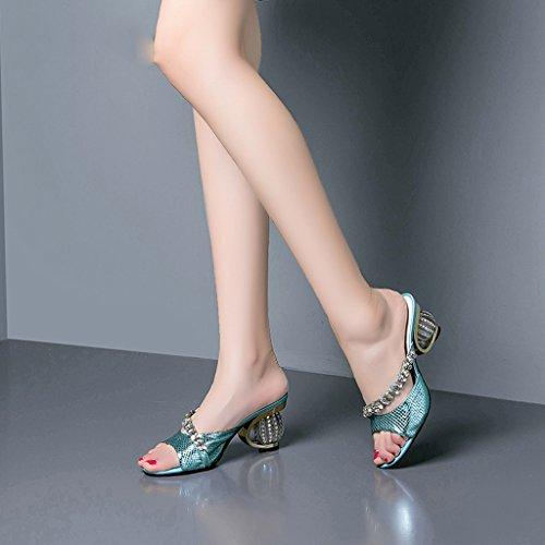 Sandales Talons Moyens Crystal Diamond Mode Chaussures À Talons Femme Été Open Toe Pantoufles Bleu OhQMIjkn