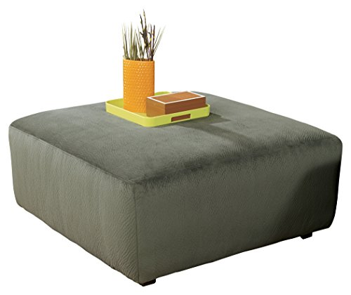 nature Design - Jessa Place Oversized Accent Ottoman - Contemporary Fabric Upholstery - Pewter ()
