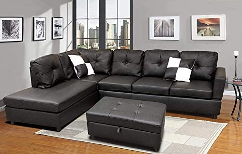 Sectional Sofa, L-Shape Faux Leather Sectional Sofa Couch Set with Chaise, Ottoman, 2 Toss Pillow Using for Living Room Furniture.(Black)