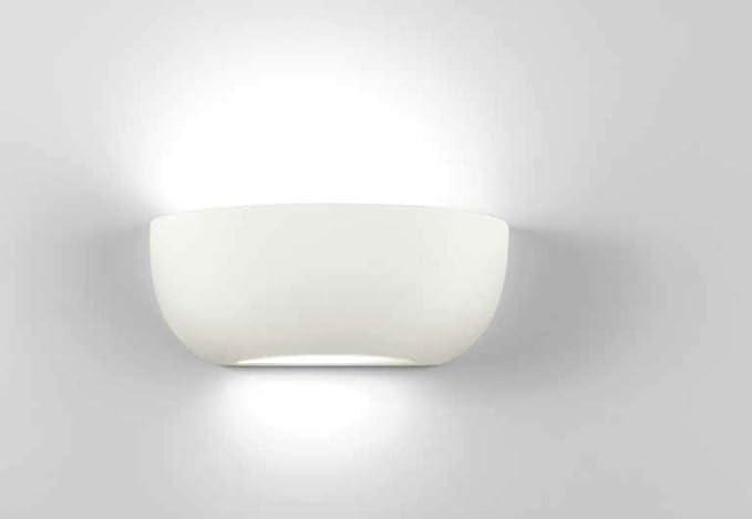 Isyluce lampada da parete applique ceramica bianca effetto