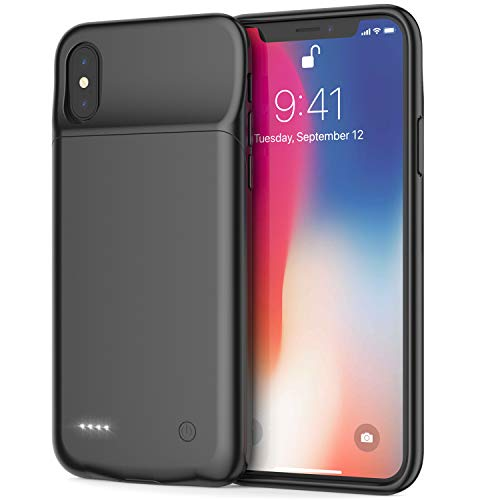 iPhone X/XS Battery Case, Maiphee 5.8-inch 3200mAh Slim Rechargeable Extended Protective Portable Charging Case for iPhone X/XS and iPhone 10, Compatible with Wire Headphones(Black)