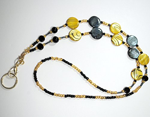 Beaded Lanyard, ID / Badge Holder / Eyeglasses - Sunglasses Holder with Lobster Clasp & removable Split Ring. Jewelry Lanyard. Yellow and Black - Sunglasses Lobster