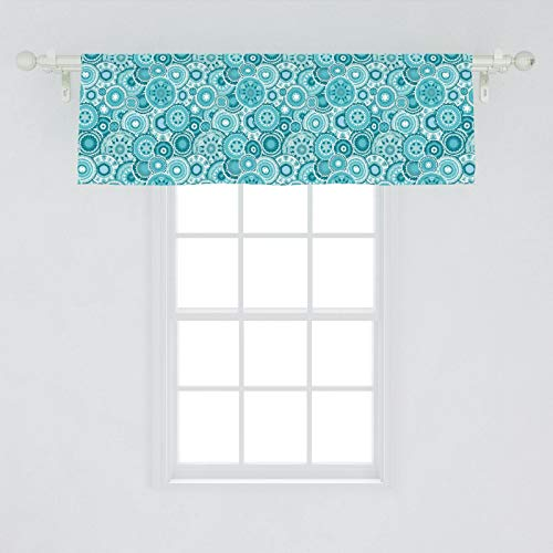 "Ambesonne Aqua Window Valance, Hippie Floral Leaves Mandala Rounds Traditional Elements Print, Curtain Valance for Kitchen Bedroom Decor with Rod Pocket, 54"" X 18"", Turquoise White"