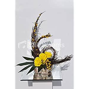 Modern Fall Vase Display Yellow Roses Orchid Leaves and Mimosa 11