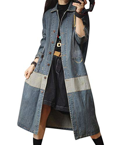 YESNO YS7 Women Casual Long Denim Jacket Plus Size BF Jean Trench Coat Color Block Ripped/Pockets A-line Cotton Trench Coat