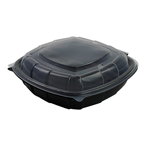 Sabert Hinged Takeout Container, 9x9x2.5'', Clear Lid, Square Black Base, Rounded Corners, Spill Proof, Durable, Recyclable, Microwaveable, 112 Count by Sabert