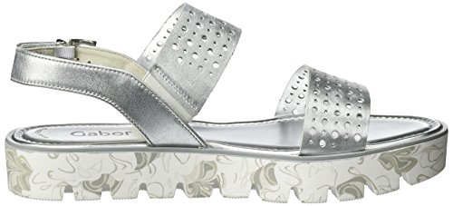 Gabor Shoes Fashion, Sandalias con Cuña para Mujer Blanco (ice 61)
