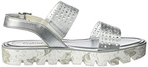 Gabor Shoes Fashion, Sandalias con Cuña para Mujer Blanco (ice 61)