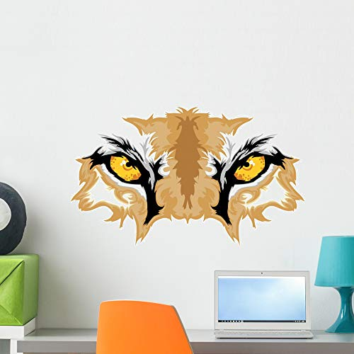Wallmonkeys Cougar Eyes Mascot Graphic Wall Decal Peel and Stick Animal Graphics (24 in W x 14 in H) WM496981