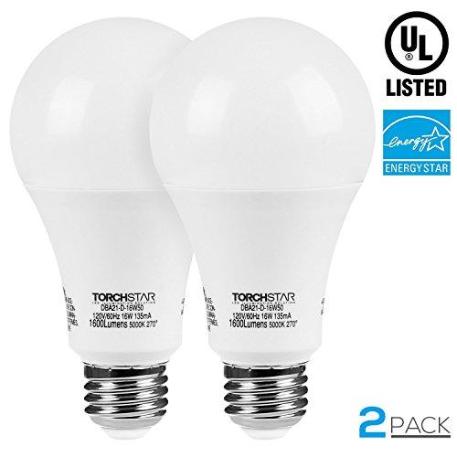 231 Light (TORCHSTAR LED Dimmable 100W Equivalent A21 Bulb, ENERGY STAR, UL-listed, E26 Medium Base, 1600lm, 5000K Daylight, Omni-directional LED Light Bulb for General Lighting, Pack of 2)
