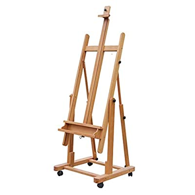 WURE Beech Easel, Multifunction Vertical Horizontal Dual Use Oil Painting Sketch Display Easel, Folding Lift Student Easel