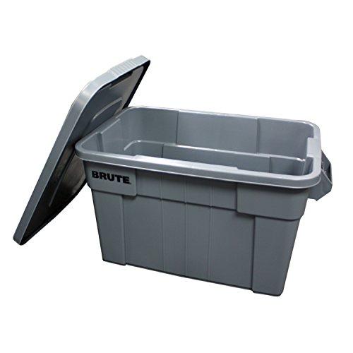 Rubbermaid Commercial Products BRUTE Contenedor de almacenamiento con tapa, 20 galones, gris (FG9S3100GRAY)