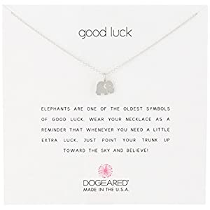 "Dogeared Reminder ""Good Luck"" Sterling Silver Elephant Pendant Necklace, 16"""