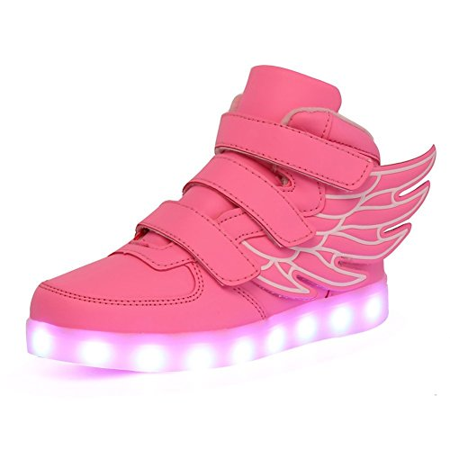 KARKEIN LED Light Up Hi-Top Wings Shoes USB Rechargeable Flashing Sneakers for Toddlers Kids Boys Girls Pink]()