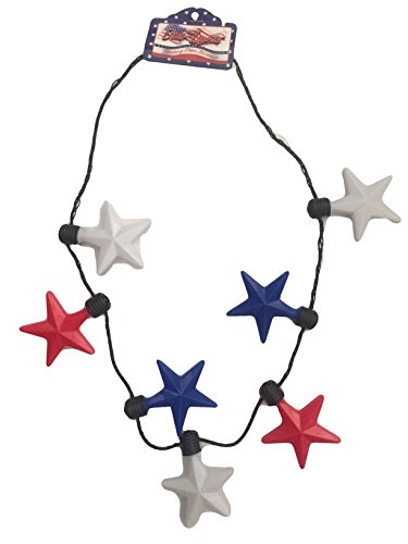 Star Lights American Fourth of July Patriotic Up Necklace - Light Necklace Blinking