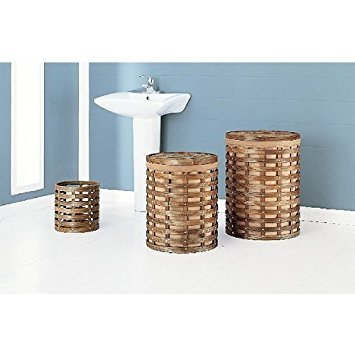 Organize It All Havana Round Hampers with Wastebasket, 1 Small, 1 Medium and 1 Wastebasket