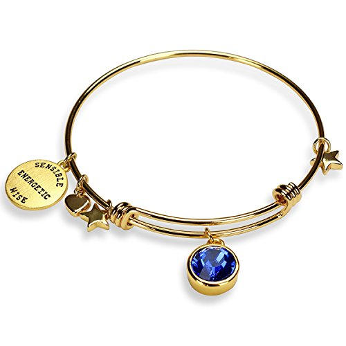 Miraclelove Gold Plated Charm Bracelet Crystal Birthstone Expandable Bangle Bracelet