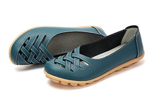 Keesky Kvinna Läder Tillfälliga Utskurna Loafers Platt Slip-on Skor Blå
