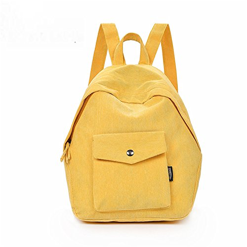 Canvas Women Backpack School Bags Teenage Girls Casual Back Pack Student School Bag Yellow by Feilongzaitianba