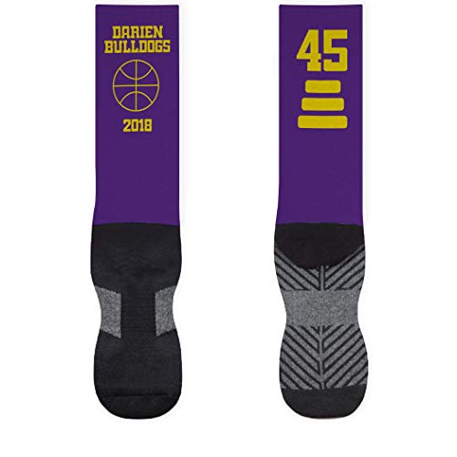 Basketball Mid-Calf Socks   Custom Team Name & Number   Purple/Yellow   SM